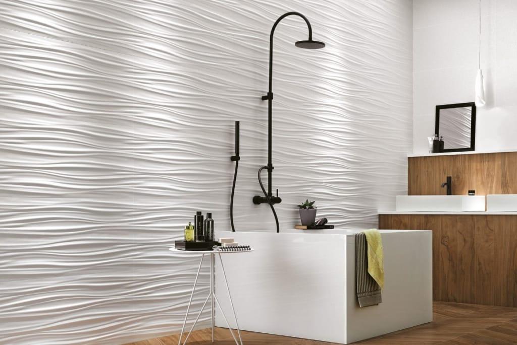 Carrelage salle de bain ribbon 3D