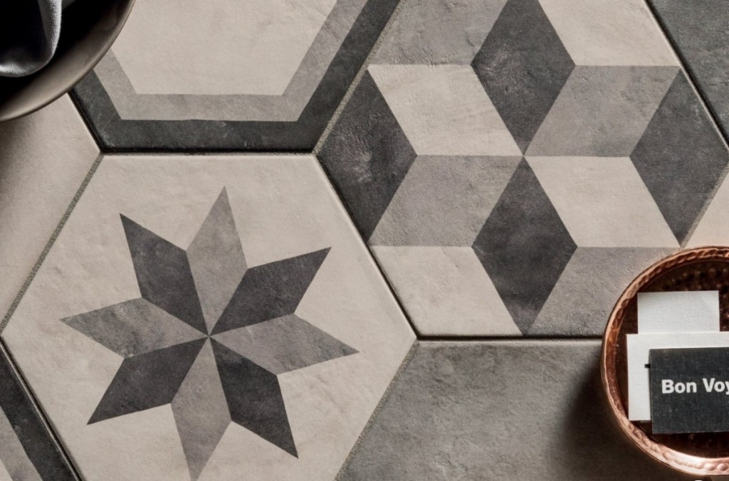 Carreaux de ciment terra hexagone grigrio
